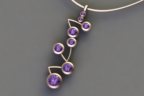 18ct Red Gold Purple Sapphire Branch Pendant Design by Robert Feather Jewellery