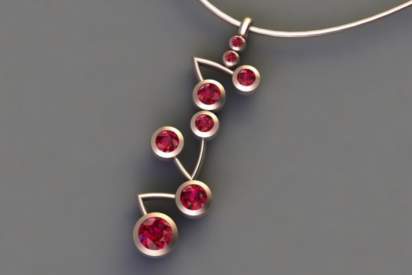 18ct Red Gold Ruby Branch Pendant Design by Robert Feather Jewellery