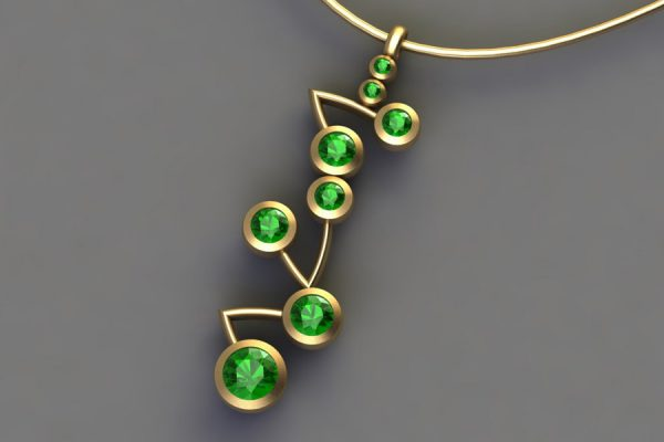 18ct Yellow Gold Tsavorite Branch Pendant Design by Robert Feather Jewellery
