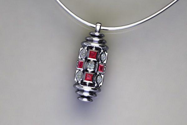 Diamond & Ruby Set Platinum Capsule Pendant Design by Robert Feather Jewellery