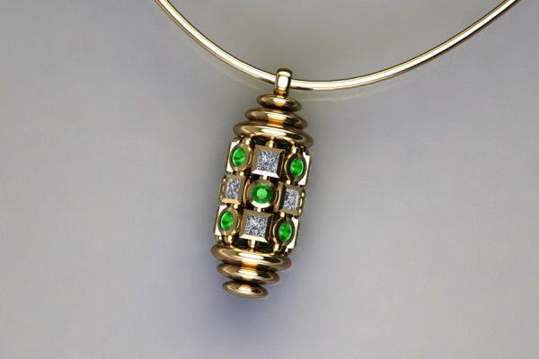 Diamond & Tsavorite Set Yellow Gold Capsule Pendant Design by Robert Feather Jewellery