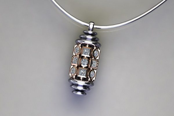 Diamond Set Platinum & Red Gold Capsule Pendant Design by Robert Feather Jewellery