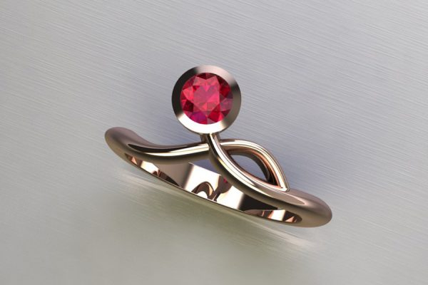 Ruby Red Gold Ring Design by Robert Feather Jewellery