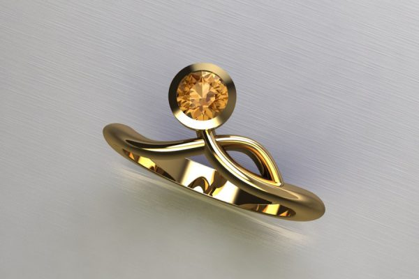Orange Sapphire Yellow Gold Ring Design by Robert Feather Jewellery