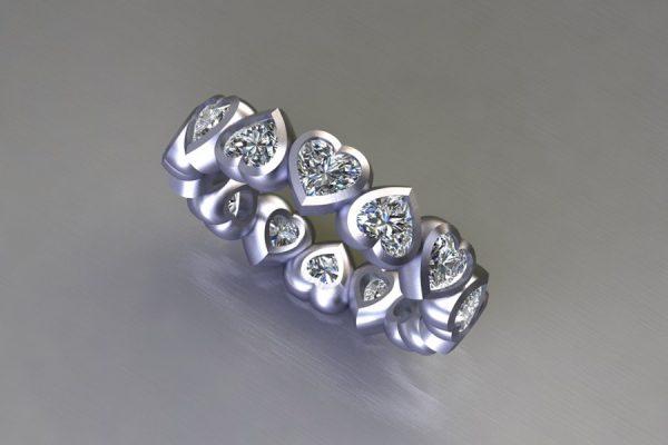 Heart Cut Diamond Platinum Ring Design by Robert Feather Jewellery