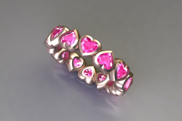 Heart Cut Pink Sapphire Red Gold Ring Design by Robert Feather Jewellery