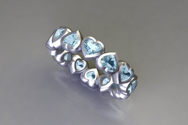 Heart Cut Aquamarine White Gold Ring Design by Robert Feather Jewellery